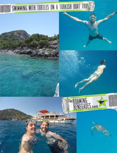 A day sailing in the Mediterranean, snorkeling with Turtles & Exploring the hidden beaches of Fethiye, Turkey, turkiye, holiday, vacation, fethiye, Oludeniz, Olu Deniz, Hisaronu, thomas cook, Salih, cherry tree boat, boat trips, tours, thompson, monarch, easy jet, Dalaman, swimming, under water swimming,