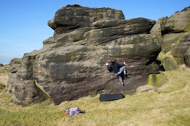 Bouldering at Bridestones, Yorkshire