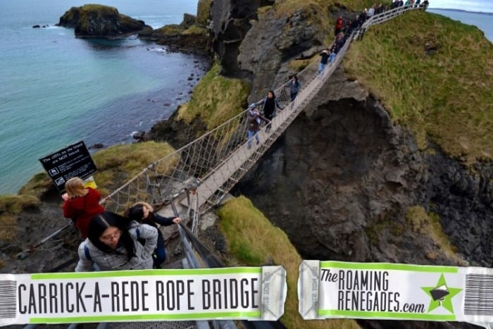 Traversing the dramatic CARRICK-A-REDE coastal rope bridge!