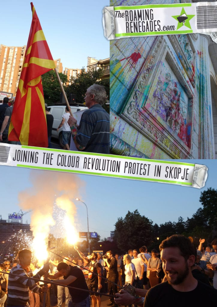 "We protested the Macedonian government as part of the ""Colourful Revolution"" in Skopje! https://theroamingrenegades.com/2016/08/protested-macedonian-government-colourful-protests-skopje.html"