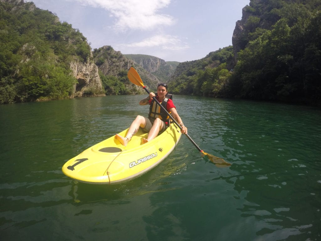 Kayaking for 3hrs down the amazing Matka Canyon to discover the amazing hidden cave on the water! Macedonia, adventure, skopje, things to do in skopje, things to do outside of skopje, day trips, how to get to match canyon from skopje, hike, climbing, climb, trails, monastery, Vrelo Cave, dam, kayak, ferry, travel, backpacking, travelling, traveling, europe, balkans