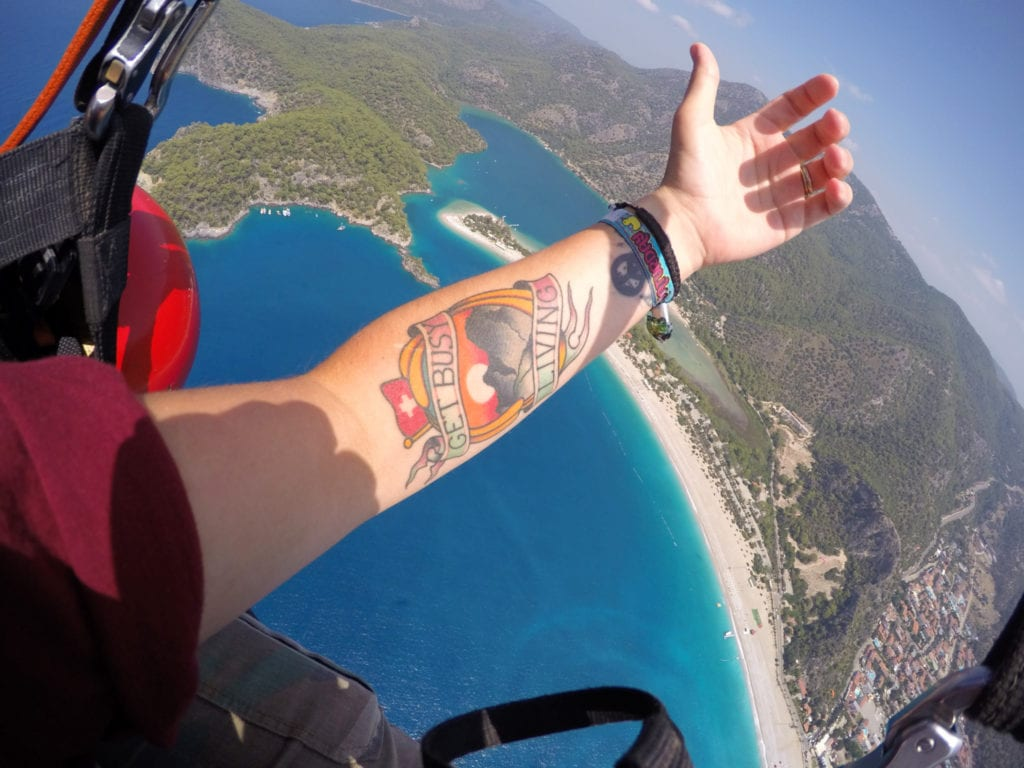 Get busy living, tattoo, ink, mountains, switzerland, inspiration, Paragliding off Babadag Mountain and landing on the stunning Blue Lagoon Beach, Turkey! Paraglide, Oludeniz, hisaronu, fethiye, turkey, turkiye, extreme sports, blue lagoon, beach, holiday, things to do, is it safe, activities, thompson, thomas cook, travel, backpacking, adrenaline, Go Pro, GoPro, Sony Action Cam, Nic hilditch-Short, Nicola Hilditch, Paul Short,