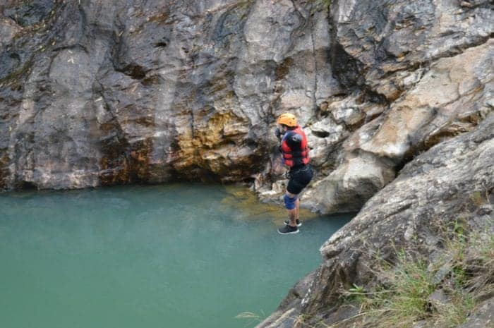 Dalat Canyoning, Leaping 36ft into a narrow cavern, ziplining over a turquoise lake and abseiling 100ft over a waterfall: Canyoning in Dalat, Vietnam!, canyoning, adventure, canyoneering, abseil, cliff jumping, adventure activities to do, must do Dalat, which company, safety, danger, explore, 11 metre jump, 11m jump, things to do in Dalat, Canyoning Dalat, What to do in Dalat, Canyoning in Dalat,