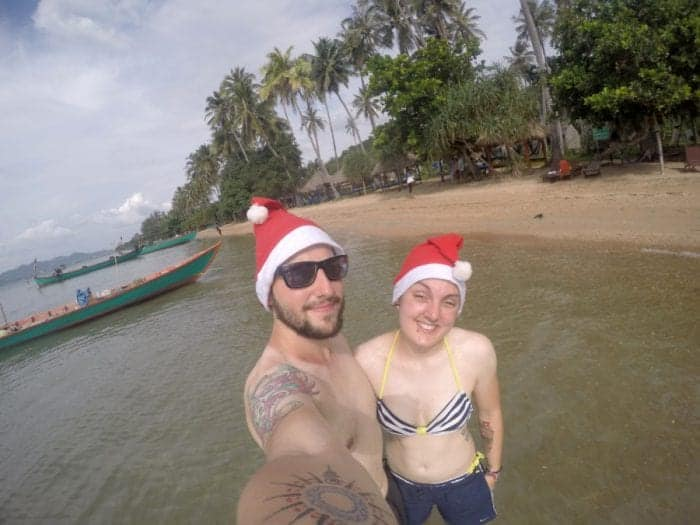 Koh Tonsay Cambodia, Spending Christmas on the beach: A day of adventure to find paradise on a Cambodian Island for a different type of celebration, Beach, abroad, Cambodia, Kep, Kampot, Siem Reap, Angkor Wat, Adventure, Beach, sea, swim, island, Koh, rabbit island, Koh Tonsay, bungalow, bungalow on the beach, drinking from a coconut, Santa, hot Christmas