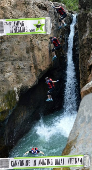 Dalat Canyoning , Leaping 36ft into a narrow cavern, ziplining over a turquoise lake and abseiling 100ft over a waterfall: Canyoning in Dalat, Vietnam!, canyoning, adventure, canyoneering, abseil, cliff jumping, adventure activities to do, must do Dalat, which company, safety, danger, explore, 11 metre jump, 11m jump, things to do in Dalat, Canyoning Dalat, What to do in Dalat, Canyoning in Dalat,