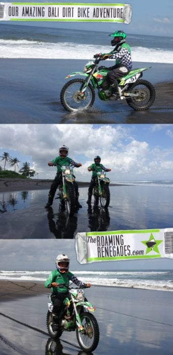 Dirt biking along the black sand beaches of Bali, a different way to spend the day at the beach, Dirt bike Bali, bali dirt bike tours, bali dirt bike adventures, Indonesia, Cost, Enduro Bike tour, Crosser, Off road bike, Kawasaki,