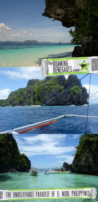 Sailing through unbelievable turquoise waters to the awe inspiring Big Lagoon and hidden beaches of El Nido, Palawan, Philippines! > https://theroamingrenegades.com/2017/09/el-nido-island-hopping-philippines-palawan.html