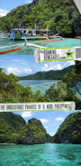 Sailing through unbelievable turquoise waters to the awe inspiring Big Lagoon and hidden beaches of El Nido, Palawan, Philippines! >https://theroamingrenegades.com/2017/09/el-nido-island-hopping-philippines-palawan.html