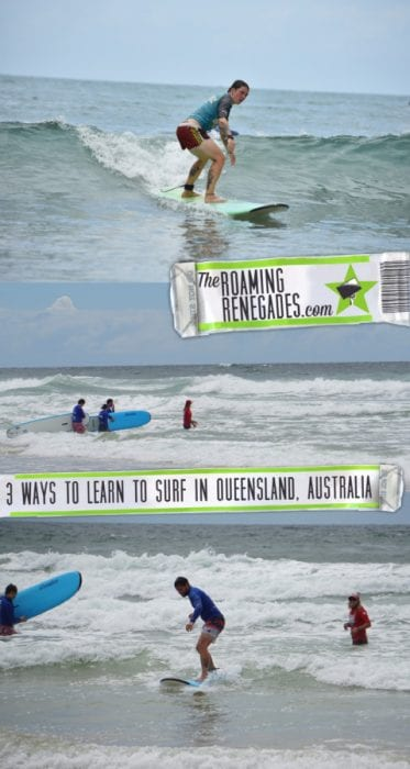 Learning to surf in Australia. Tackling the incredible Queensland waves! > https://theroamingrenegades.com/2018/08/surf-lessons-australia-queensland.html
