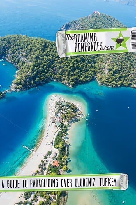 Paragliding off Babadag Mountain and landing on the stunning Blue Lagoon Beach in Oludeniz, Turkey! > https://theroamingrenegades.com/2019/05/paragliding-oludeniz-turkey-safety.html | #travel #Turkey #Asia #Europe #AdventureSports #Paraglide #AdventureTravel